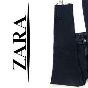 Zara Grudge Gommet Charcoal Colored Cropped jeans